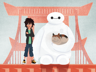 Big Hero 6 Detail disney baymax illustration poster animation big hero 6 screen print pop-culture