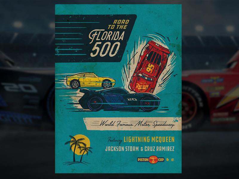 """Cars 3 """"Crash"""" Variant Poster cars 3 blue florida racing vintage cars film illustration poster"""