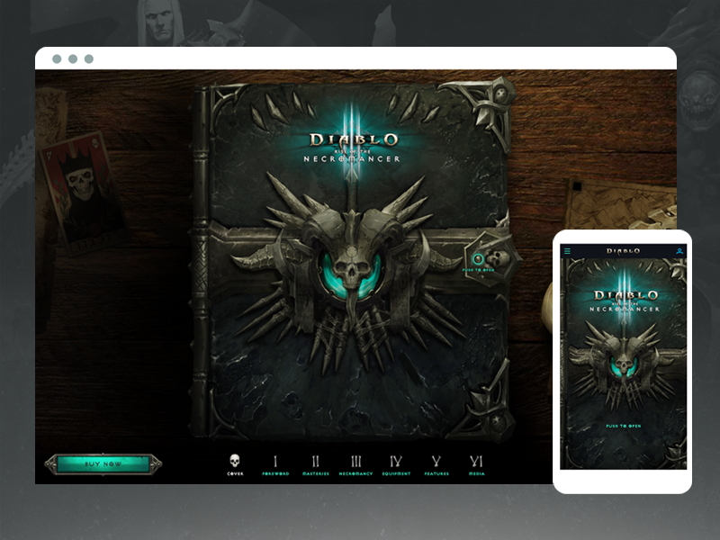 Diablo 3: Rise of the Necromancer gothic skull novel book blizzard ux website game necromancer diablo