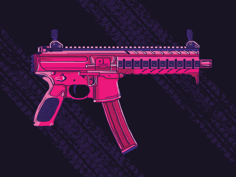 Sig Sauer MPX Pistol wacom photoshop drawing illustration pink pistol gun