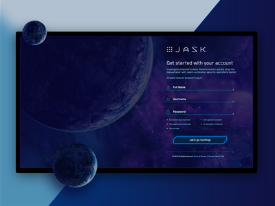 JASK New Account Sign-Up product design scifi science fiction planets fui space signup page form design signup form