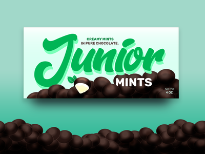 Junior Mints (Weekly Warm-Up #3) logo green mint chocolate junior mints brand packaging candy