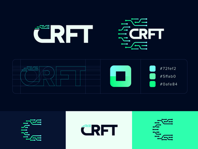 CRFT Logo icon automation cybersecurity green illustration vector branding brand logotype logo