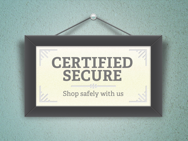 Certified Secure frame certificate wall texture hanging adelle illustration photoshop paper