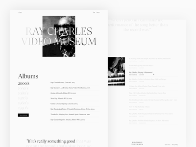 Screens - Ray Charles Video Museum scroll landing blog museum video quotes overview album music minimal typography ux ui digital design clean