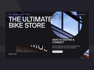 Intro - Ride Out Amsterdam amsterdam rideout ux ui typography principle minimal landing interaction digital design clean animation