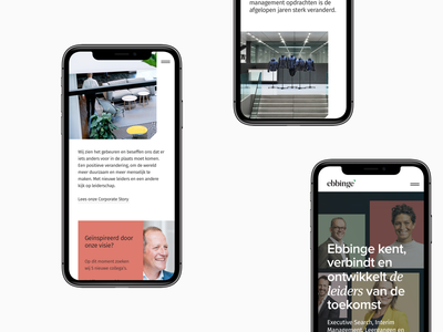 Mobile - Ebbinge design website ui layout hero grid clean minimal digital overview mobile