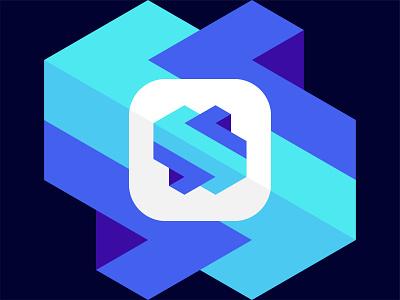 Abstract S Logo with Block vector designer branding symbol crypto logomark startup visual identity flat minimal icon lettermark block slogo abstract tech logo logo design brand identity modern logo