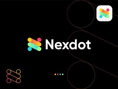 Nexdot Logo Design | N+Dots creative technology icon flat agency vector colorful dot abstract branding symbol mark abstract logo letter logo n logo colorful logo gradient logo logo design brand identity modern logo