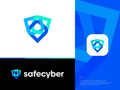 SafeCyber Logo Design | Abstract Security Logo visual art app icon branding business startup agency vector symbol mark icon cybertech abstract logo technology security shield cyber logo logo logo design brand identity modern logo