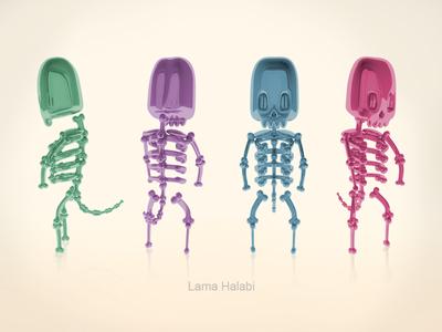 3D skeleton modeling vray art colors 3dmodeling 3d modeling cinema4d 3d characters