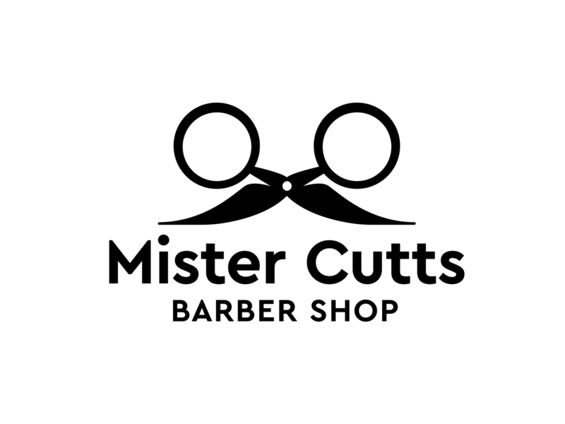 Mister Cutts Barber Shop Logo Design scissors negative space clever barbershop barber icon vector typography logo design branding