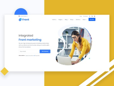 Front – Multipurpose Responsive Template ux corporate clean website web design illustration creative trending ui branding