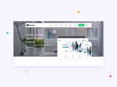 Corporate Start Up - Space - Hero agency design business theme header clean web design ux ui website corporate trending creative