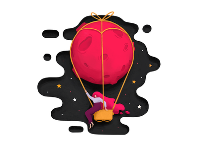 Journey on the pink moon balloon moon pink fantasy art design sky star fly girl illustration trip travel journey