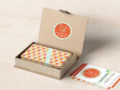 Angri Bunni Studio Business Card Mockup logo identity business card quirky orange debut bunny pattern polygon