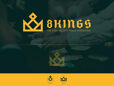 8 Kings - Poker Game logo design logomark logodesign gambling las vegas high-society experience pokerchip pokergame grid logo logo design logo minimalistic minimalism exclusive logo abstract logo branding concept branding logotype