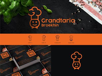 Grandtaria Broekhin - Logo & Businesscard brand design restaurant branding orange logo cooking hat cooking logo logomark grid logo brand abstract logo branding concept exclusive logo logotype brand identity restaurant minimalism logo branding