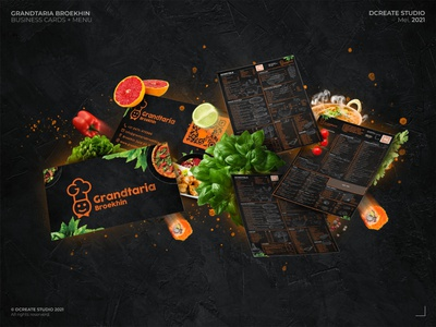 Grandtaria Broekhin - Menu + Businesscards branding concept exclusive logo restaurant design business cards menu design food branding restaurant branding design brand identity branding
