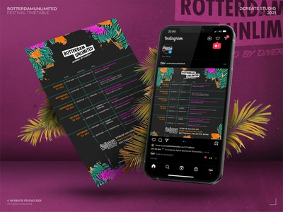 TimeTable Design - RotterdamUnlimited x YouDistrict timetable design online design event design music event music streaming happy vibes summer event brand identity logotype ui branding concept rotterdam instagram design design streaming timetable online event festival branding