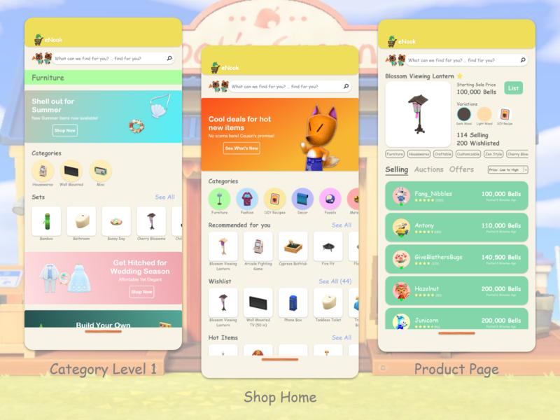 NookMobile Concept: Shop Screens animal crossing ui design mobile app gaming ux design
