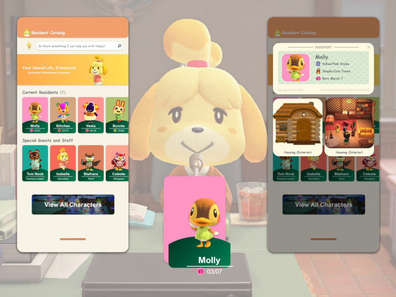 Nookmobile Concept: Resident Catalog amiibo concept animal crossing ui design mobile app ux design