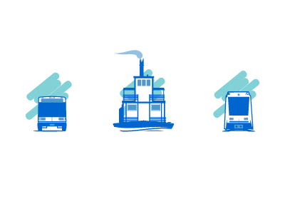 Updated Transit Icons rail ferry bus transportation transit illustration