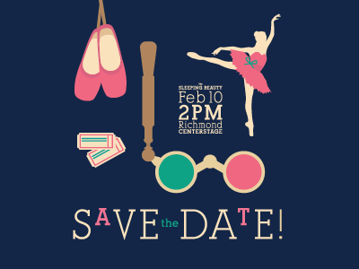 Save the Date date tickets ballet slippers