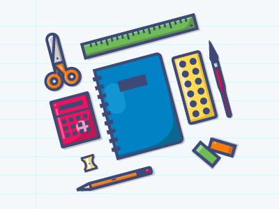 School suppies calculator scissors notebook supplies school