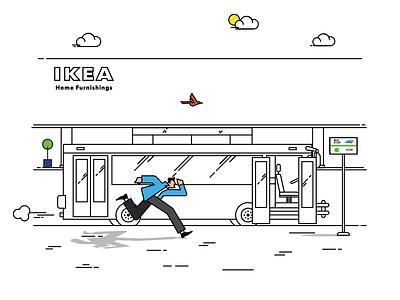 Running for bus transit branding vector transportation shopping illustration bus stop bus man