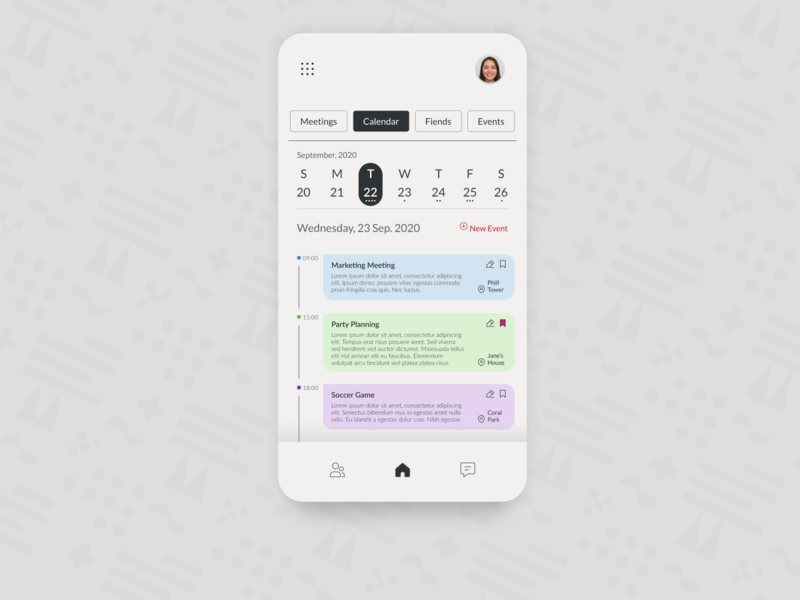 Schedule: DailyUI_071 daily ui figma design figma profile meetings calendar 100 days of ui 100 daily ui 100daychallenge 100 day challenge 100dayproject 100days mobile app design mobile design mobile app mobile ui mobile schedule app schedule