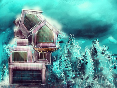Remembering Winter winter snow digital painting digital illustration home procreate concept art blue architecture illustration digital digital art