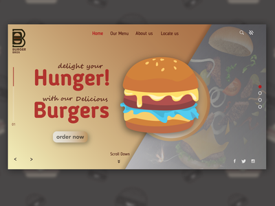 Landing page ui graphicdesign illustration burger restaurant branding design illustrator landing page design