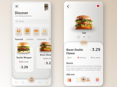 Mobile app ui food app minimal uxui typography branding graphicdesign illustration ui