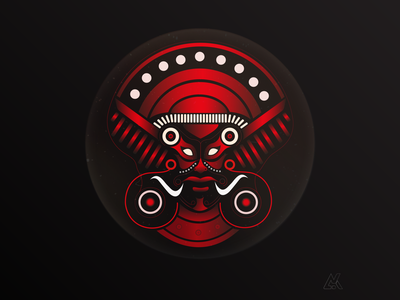 'THEYYAM' (an act of ritualism) gradient design basic shapes graphicdesign vector illustration
