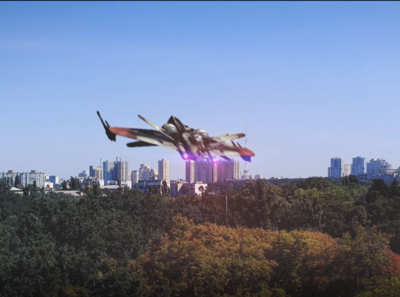 ARC fighter over Kyiv ship render compositing 3d starwars