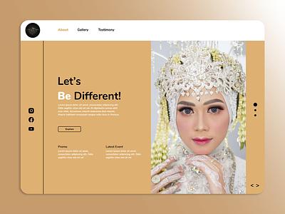 Aliya Wedding Services layout design makeup wedding minimal page design homepage webdesign