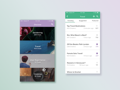 Chit Chat App clean simple list discover travel social chat gradient ux ios ui