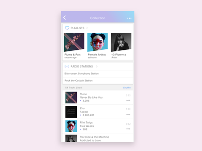 Cute Colours for Music App cards gradients gradient iphone app ux ui redesign music player music pink purple