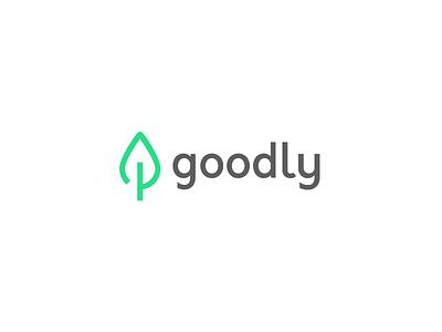 Goodly Logo 🍃 eco sustainable environment good ux app bright green leaf illustration ui logo