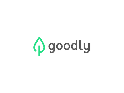 Goodly Logo 🍃 eco sustainable environment good ux app bright green leaf illustration ui logo