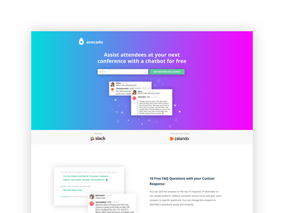 Concept for Chatbot Landing Page slack bot chatbots ux ui web web design bubbles website landing page