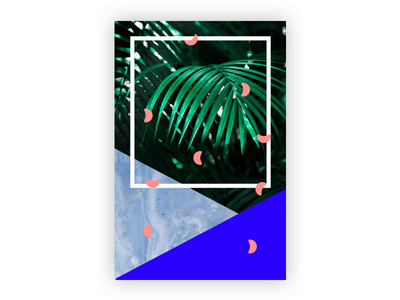 Non-UI Design electric brutalist abstract pink blue leaf poster