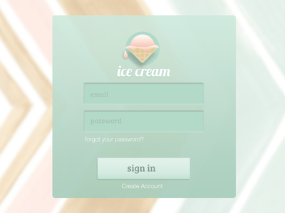 Ice Cream Login Widget