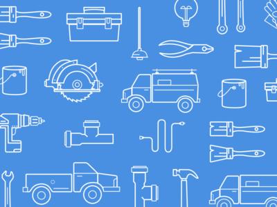 Tools & Repairs Line Icon Set