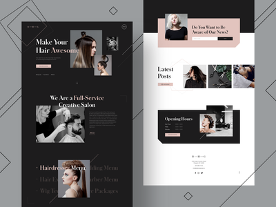 Big Hair Group Website hairdresser landing page hair style color palette fonts vector hair salon style guide logo typography design branding website clean ui ux ui minimalism