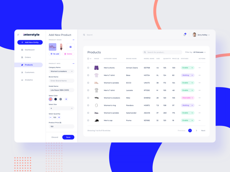 Interstyle Dashboard dashboad price products tranding admin panel ecommerce typography minimalism ui ux web app