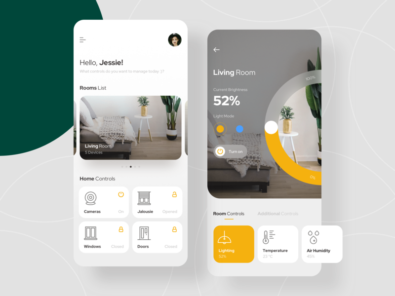 Smart Home App green yellow interior rooms light home clean ui vector smart technology ui ux minimalism mobile app