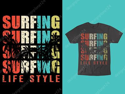 Surfing T-shirt Design. tshirt art t-shirt design graphic design surf board surf logo surf design surf art surfing surf tshirt design t shirt design merch by amazon shirts merch by amazon photoshop illustration branding brand design logodesign logo design