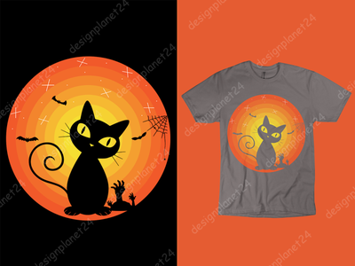Halloween Cat T-shirt Design. catskills cat art cat logo cat lovers cats halloween carnival halloween design halloween party halloween graphic design tshirt design t shirt design merch by amazon shirts merch by amazon brand design logodesign branding logo illustration design